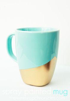 Spray-painted mug. Looks like @La Farme / Anne Carlyle Lindsay