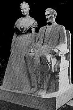 The first statue of Abraham Lincoln and his wife, Mary