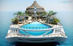 swimming pools, volcano, paradise island, dream, boats