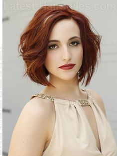 Red Wavy medium length Bob hairstyle with Dramatic Highlights