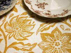 everyday yellow ochre on white passionflower linen by giardino, $40.00