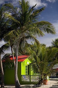 Colorful beach house in the Bahamas