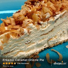 """Freezer Caramel Drizzle Pie   """"This is so good. It is rich and super sweet and so easy. Everyone who tasted this gave it 2 thumbs up while their mouths were full!"""" - Joy"""