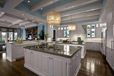 home interiors, high end interior design, ceiling beams, blue ceil, blue kitchens