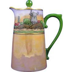 T&V Limoges Arts & Crafts Dutch Village Motif Syrup Pitcher (c.1892-1907)