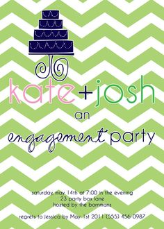 Chevron Engagement Party Invite by PARTYBOXDESIGN on Etsy, $33.50