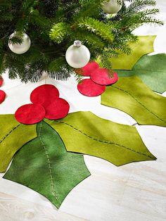Holly Leaves Christmas Tree Skirt