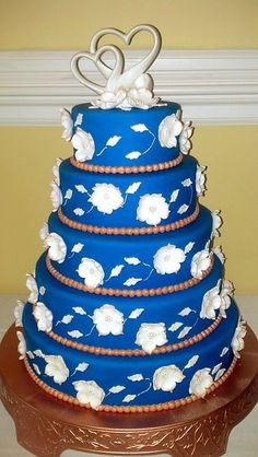 Royal Blue and Copper Wedding Cake ~ all edible