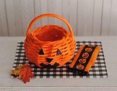 Miniature Halloween JackOLantern Basket