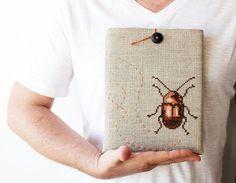 SALE Mr.Cockroach - iPad case - Funny iPad sleeve - Hands embroidery - Grey brown.