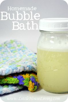 Homemade Bubble Bath. Perfect for sensitive skin, super frugal, all natural, and only 4 ingredients!