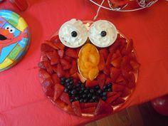 birthday parties, fruit platters, elmo birthday, elmo party, 2nd birthday, fruit dips, parti idea, fruit tray, whipped cream