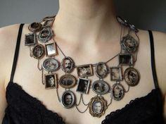 Necklace made of photos of her ancestors.