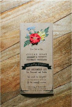 Handmade Pressed Flower Wedding Invitations. $5.95, via Etsy.