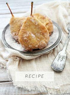 pear fritters and cinnamon sugar