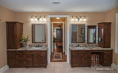 His-and-her vanities with tons of storage in this master bathroom! The Birchwood home design by Donald Gardner http://www.dongardner.com/plan_details.aspx?pid=3751. #Vanities #Bathroom #FloorPlan