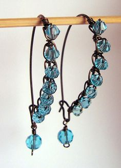 Blue crystal and brass wire wrapped earrings by starrydreams, $25.50