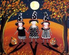 Three Little Witches Halloween Folk Art by reniebritenbucher