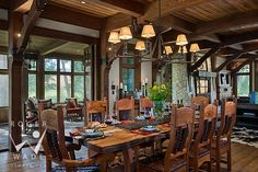 roger wade studio interior design photography of dining room in luxury timber frame home, private residence, kamloops, british columbia, can...
