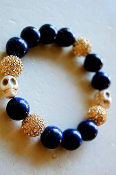 LAPIS TURQUOISE SKULL bracelet with lapis lazuli by babyheart