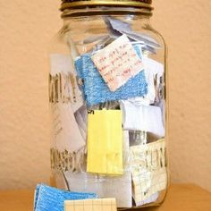 Start the year with an empty jar and fill it with notes about good things that happen. On New Year's Eve, empty it and remember all the awesome stuff that happened that year.