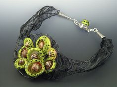 Necklace | Sara Sally LaGrand.  'Glass Basket Weave'