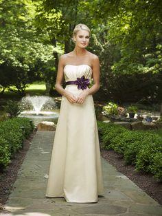 Amazing A-line empire waist satin bridesmaid dress