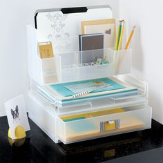 Organization idea for my desk. From the container store. Products at: http://www.containerstore.com/shop/office/desktopCollections/stackingDesktopSystem?productId=10027242&N=80070  and Organize tips at: http://www.organizetips.com/office.htm