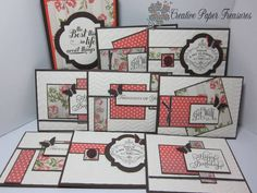 "Tea for Two One Sheet Wonder-Stamps: Perfectly Penned, Beautiful Birthday, Vintage Verses, Feels Good, Loving Thoughts Paper: Very Vanilla, Early Espresso, Calypso Coral, Tea for Two Dsp Ink: Early Espresso Accessories: Chevron and Vine Street embossing folder, Window Framelits, Early Espresso 1/8"" taffeta ribbon, Pearl Basic jewels, Bitty Butterfly punch, Neutral Designer Buttons, Big Shot Techniques: Dry Embossing"