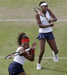 Serena Williams, left, and Venus Williams of the United States win GOLD in London!!