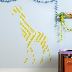 Kids' Room Décor: Colorful Large Giraffe Wall Decals in Animal Wall Art