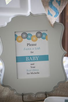 Leave a wish for baby sign. Cute as a button themed shower