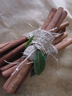 Burlap bundles of cinnamon sticks
