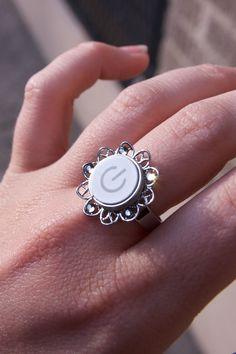 Geeky Ring Mac Power Button (White) - Girly Geek Gift.. $25.00, via Etsy.