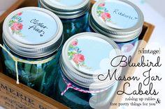 bluebird mason jar labels