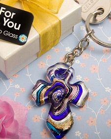 Murano Collection cross key chain favors. http://www.bluerainbowdesign.com/WeddingFavorProduct.aspx?ProductID=PR05261217499900123456789XBRD10272