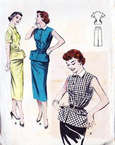 1950s Misses Two Piece Dress