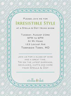 """Stella & Dot Filigree (Teal)"" Invitation, by Stella and Dot, Paperless Post"