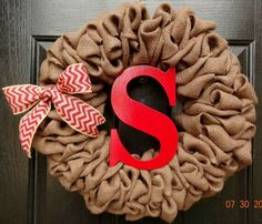 Burlap Wreath, Put J and yellow chevron bow