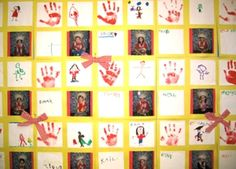Kindergarten classroom website.   This teacher makes a monthly hand print quilt with the monthly theme.  The hand prints then go in the students portfolio.