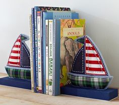 Sailboat Bookends | Pottery Barn Kids Colin's room has some other nautical themed things these would be so great for all his board books