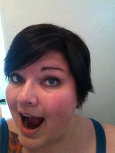 My hair was down to my lower back and I chopped it all off! I also had some purple streaks put into my bangs, which you can see better in ... bang