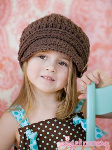 Crochet Cotton Visor Buckle Newsboy Cap - Chocolate Brown - 5 Sizes