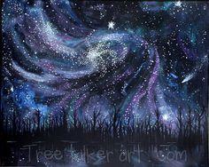 Original galaxy art  Original painting of stars and by treetalker, $290.00