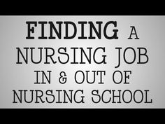 ▶ Graduate Nurses | Finding A Job In & Out of Nursing School - YouTube