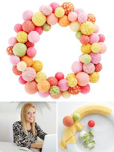 Make this #fun and festive wreath for your front door! #Spring #Crafts