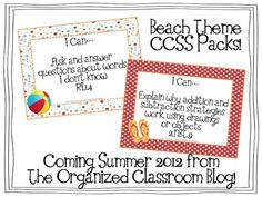 Beach Theme Teacher Binder and K-5 CCSS Lesson Planning Packs - Coming Summer 2012 from The Organized Classroom Blog  http://www.theorganizedclassroomblog.com/index.php/ocb-store