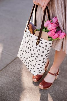 black and white polka dot bag