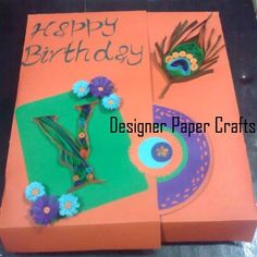 Peacock inspired - quilled birthday card - by: Designer Paper Crafts - FB - https://sphotos-b.xx.fbcdn.net/hphotos-prn1/c0.0.403.403/p403x403/150810_357494324367818_1713215300_n.jpg
