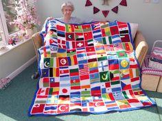 Sweet Dollies: TEJER POR UNA CAUSA SOLIDARIA crochet afghan, clever craft, crochet blanket, flag blanket, crochet project, blankets, knit flag, crochet flag, crochet idea